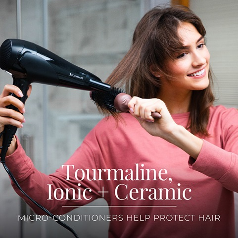 Tourmaline, ionic and ceramic micro-conditioners help protect hair.