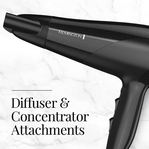 Hair dryer comes with diffuser and concentrator attachments.
