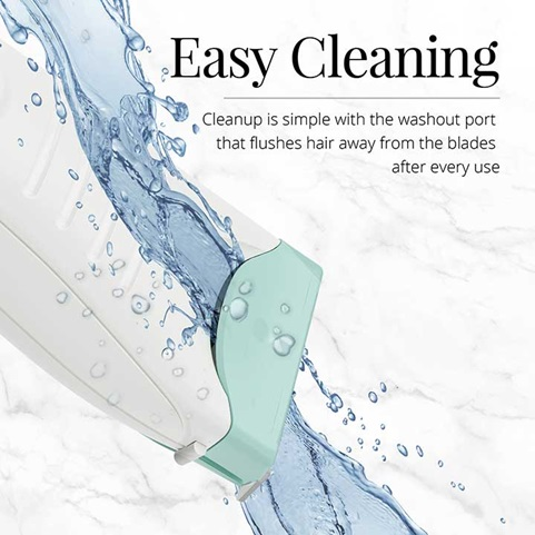 Easy Cleaning | Cleanup is simple with the washout port that flushes hair away from the blades after every use
