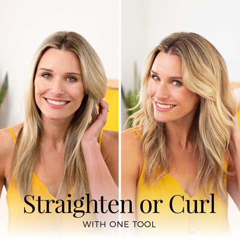 Straighten or curl with one tool