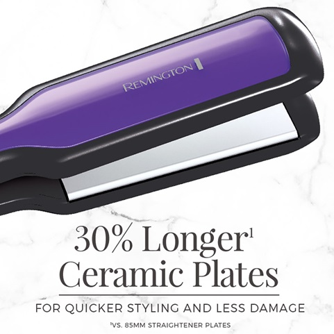 30 percent longer ceramic plates. For quicker styling and less damage. vs standard 85 millimeter straightener plates