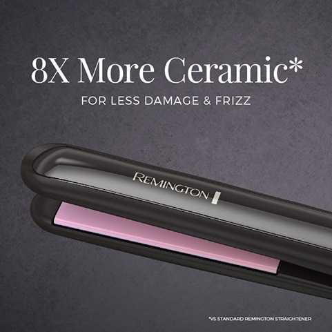 8 time more ceramic* For less damage and frizz. *Vs standard Remington straightener