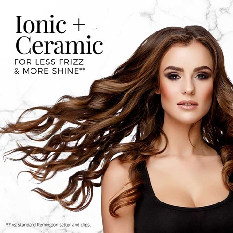 Ionic and Ceramic for less frizz and more shine, vs. standard Remington setter and clips