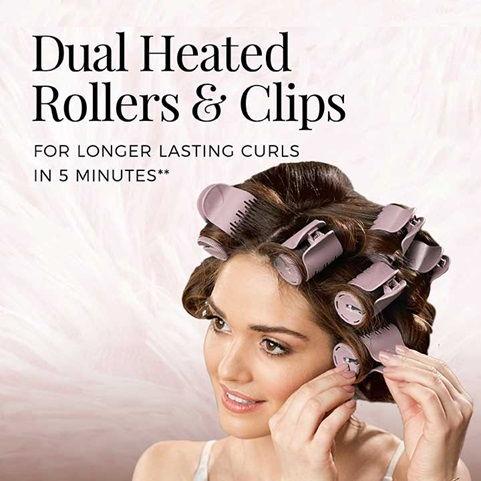 Dual Heated Rollers & Clips for longer lasting curls in 5 minutes.