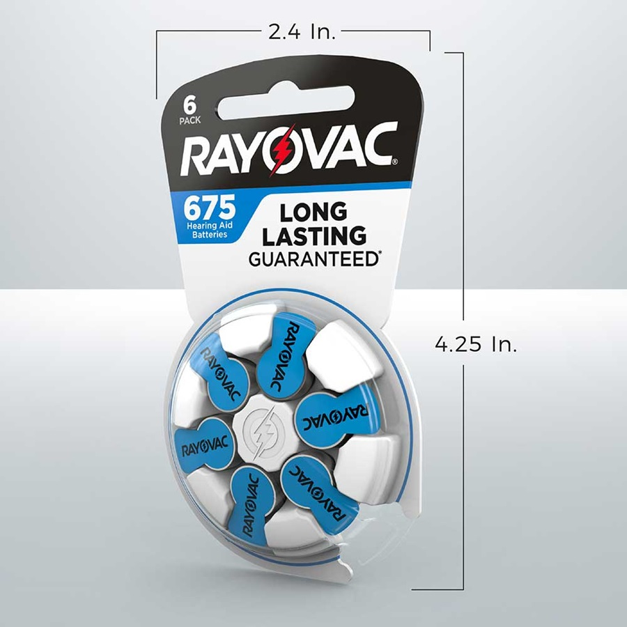 rayovac hearing aid battery size 675 6pk 2.4