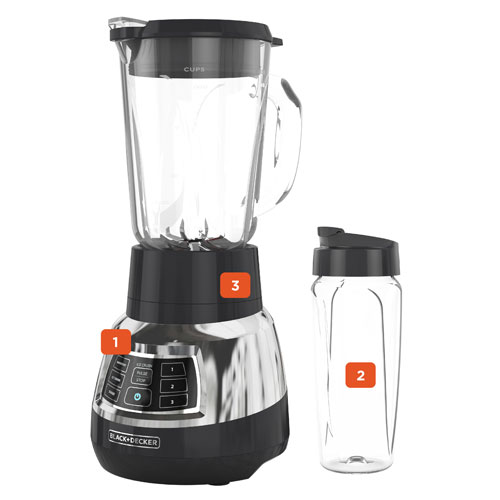 BL1400DG-P Quiet Blender with Cyclone Glass Jar, and 24-oz. Personal jar.