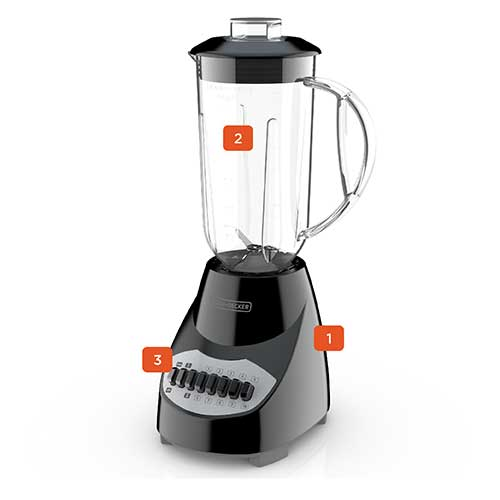 Countertop Blender with 6-Cup Plastic Jar, 10-Speed Settings, Black Blender