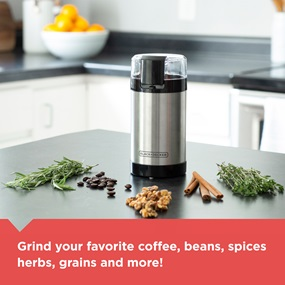 Grind your favorite coffee, beans, spices, herbs, grains and more!