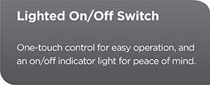 Lighted On/Off Switch | One-touch control for easy operation, and an on/off indicator light for peace of mind