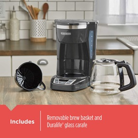 Includes removable brew basket and Duralife® glass carafe