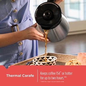 12-Cup Thermal Programmable Coffeemaker carafe keeps coffee hot for up to 2 hours - CM2045B.