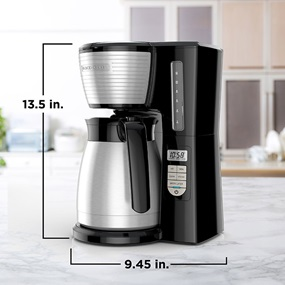 12-Cup Thermal Programmable Coffeemaker is 13.5 inches high by 9.45 inches wide - CM2045B.