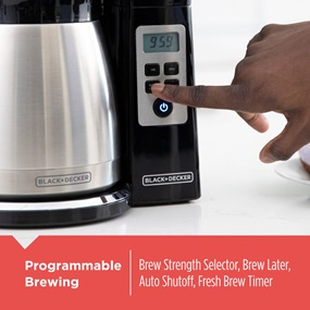 Programmable brewing. Brew strenth selector, brew later, auto shutoff, fresh brew timer.