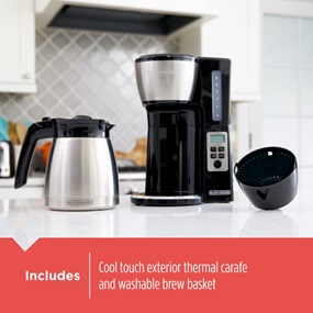 Inclues cool touch exterior thermal carafe and washable brew basket.