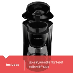includes glass carafe and removable filter basket dcm600b