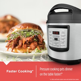Faster cooking, pressure cooking gets dinner on the table faster! PR100
