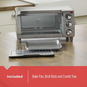 Included Bake pan, broil rack and crumb tray