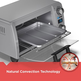Natural Convection Technology: The interior is designed to circulate hot air throughout the oven for fast even cooking results.