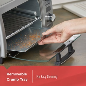 Removable Crumb Tray: Easy removable crumb tray for quick & easy cleaning of crumbs from the bottom of the oven.