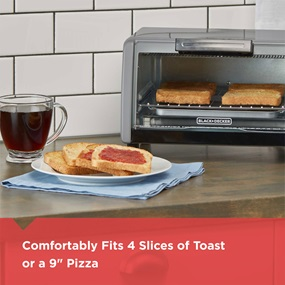 "Cooking Capacity: This countertop toaster oven fits a 9"" pizza, four slices of bread, or a variety of other snacks and meals."