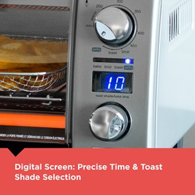 Digital Screen. Precise time and toaste shade selection.