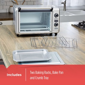 includes two baking racks, bake pan and crumb tray tod3300ss