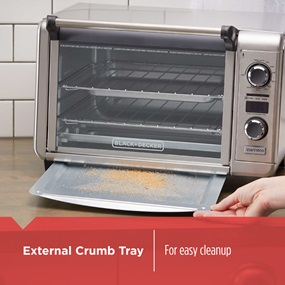 external crumb tray for easy cleanup tod3300ss
