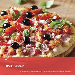 85% faster vs. conventional Samsung electronic range cooking Red Baron Classic Crust Frozen Pizza