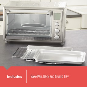 Includes bake pan, rack and crumb tray