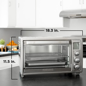TOD5035SS Crisp 'N Bake Air Fry Countertop Oven with No Preheat, Stainless Steel Product Scale