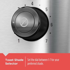 Set the dial between 1-7 for your preferred shade on the Toast Shade Selector