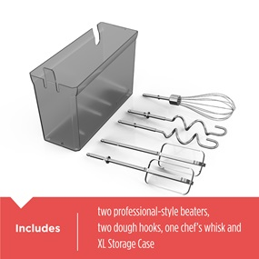 includes two professional-style beaters, two dough hooks, one chef's whisk and XL storage case