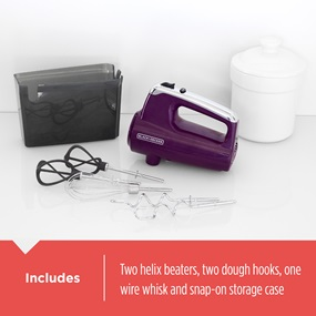 Includes two helix beaters, two dough hooks, one wire whisk and snap-on storage case
