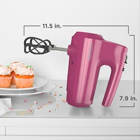 5-Speed Hand Mixer is 7.9 inches long and 11.5 inches high with beaters attached.