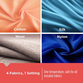 4 Fabrics, 1 Setting - One temperature, safe for all ironable fabrics