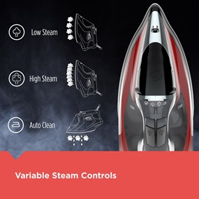 Variable Steam Controls. Low Steam, High Steam and Auto Clean.