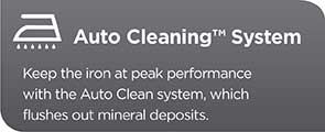 Auto Cleaning System - Keep the iron at peak performance with the Auto Clean system, which flushes out mineral deposits.