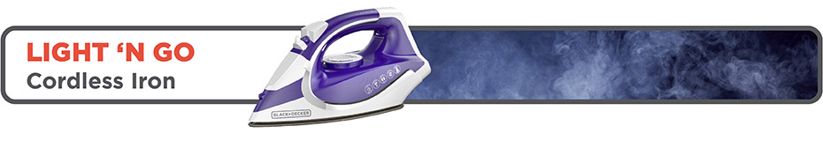 BLACK+DECKER™ Light 'N Go Cordless Iron, Purple, ICL500