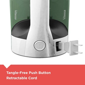 Tangle-free push button retractable cord