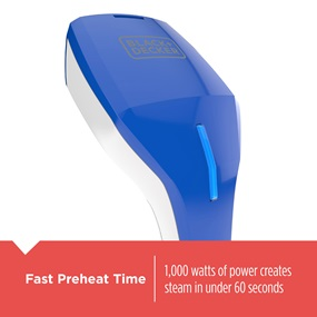 Fast Preheat Time - 1000 watts of power creates steam in under 60 seconds