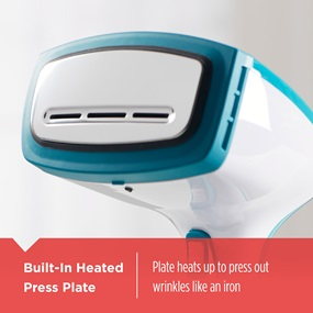 Built-In Heated Press Plate - Plate heats up to press out wrinkles like an iron