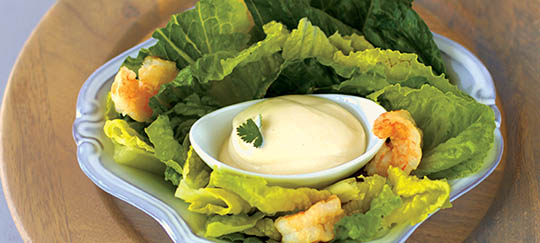 Shrimp Caesar Salad with Gruyere Crisps