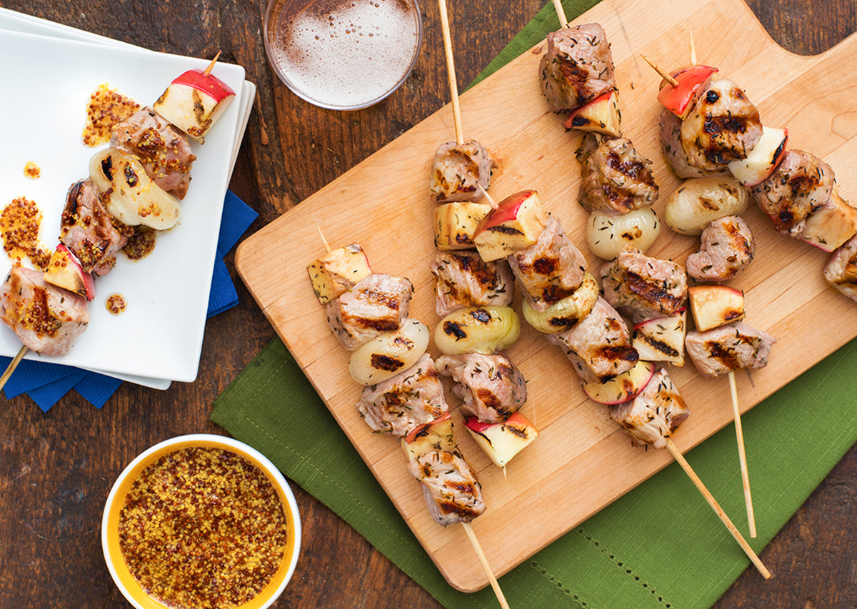 Pork, Apple and Cippolini Onion Kebabs