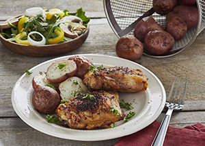 Chicken Thighs with Salt and Vinegar Potatoes George Foreman Recipe