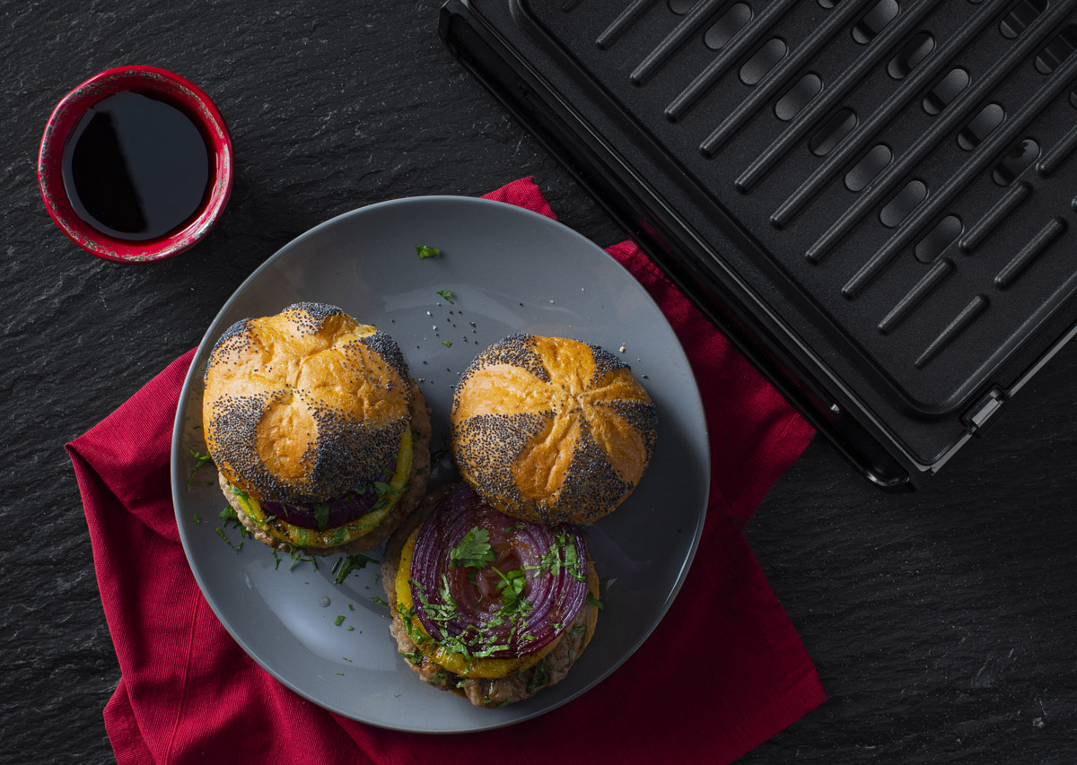 Teriyaki Turkey Burgers with Grilled Pineapple with grill