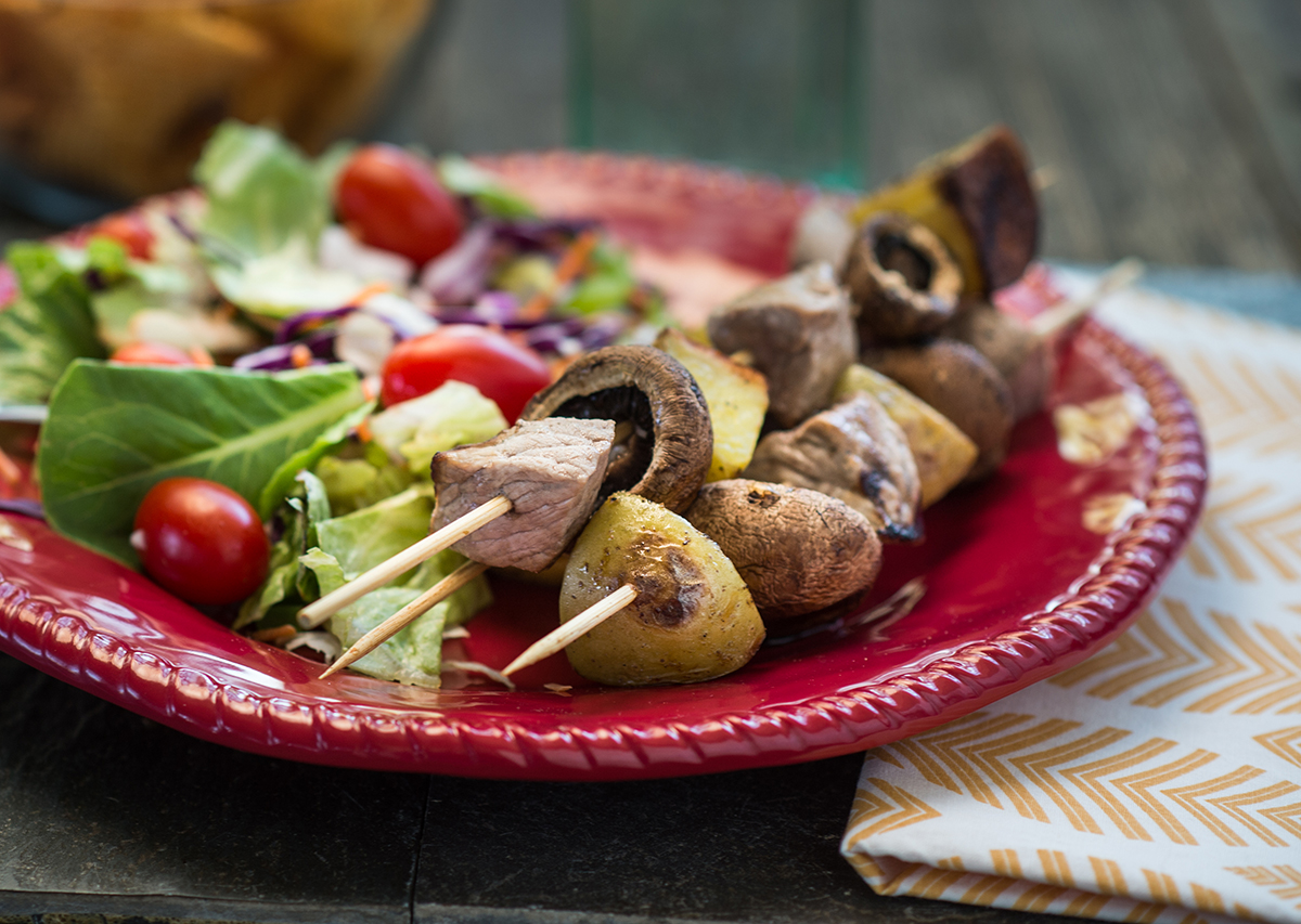 Steak and Mushroom Kabobs with New Potatoes