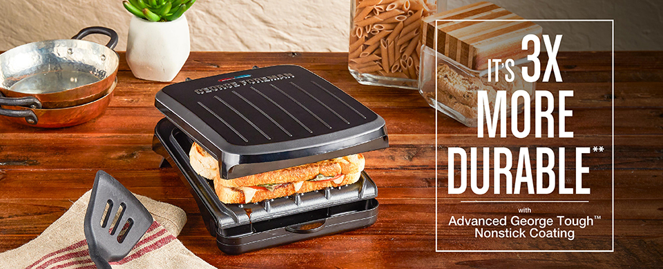 2-Serving Classic Plate Electric Indoor Grill and Panini Press, Black, GRS040B - It's 3X More Durable