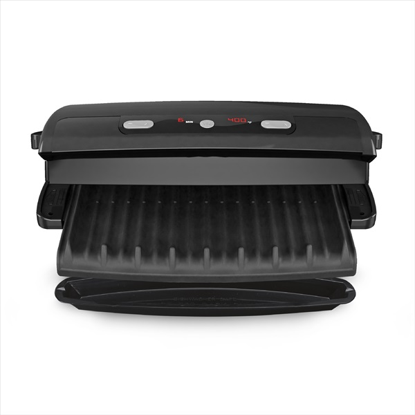 George Foreman® 6-Serving Removable Plate Electric Indoor Grill and Panini Press, Black, GRP99BLK