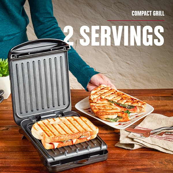 2-Serving Classic Plate Electric Indoor Grill and Panini Press, Black, GRS040B - 2 Servings