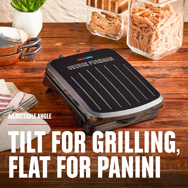 2-Serving Classic Plate Electric Indoor Grill and Panini Press, Black, GRS040B - Tilt for Grilling, Flat for Panini